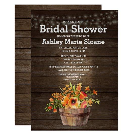 Rustic Wood String Lights Orange Bridal Shower Card