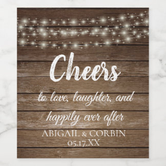 Rustic Wood String Lights Personalized Wine Label