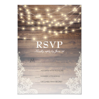 Rustic Wood & String Lights | Vintage Lace RSVP Card