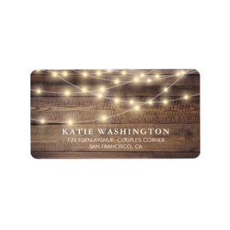 Rustic Wood & String Lights | Vintage Lace Wedding Address Label