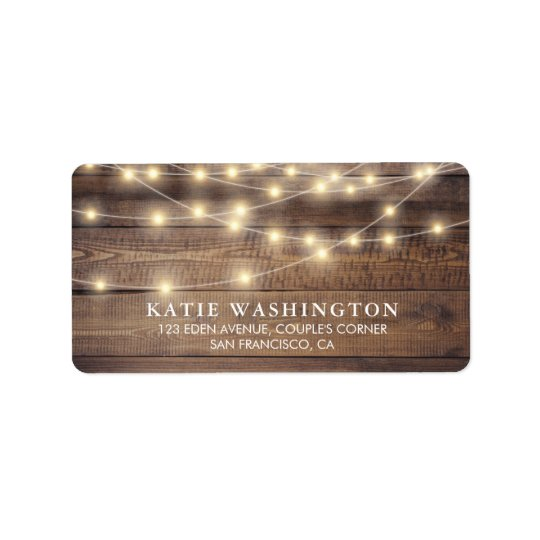 Rustic Wood & String Lights | Vintage Lace Wedding Address Label