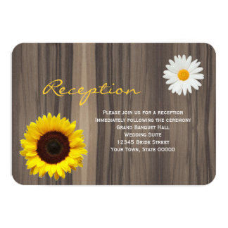 Rustic Wood Sunflower & Daisy Reception Info Card 9 Cm X 13 Cm Invitation Card