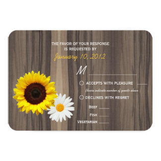 Rustic Wood Sunflower & Daisy RSVP w/ Meal Options 9 Cm X 13 Cm Invitation Card