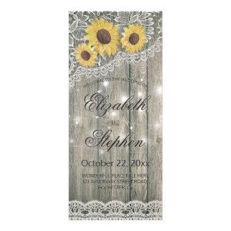 Rustic Wood Sunflower Elegant Lace Wedding Program Rack Card
