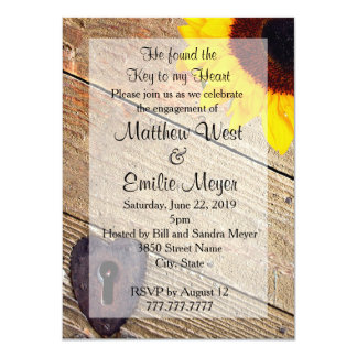 "Rustic Wood Sunflower Engagement Invitation 4.5"" X 6.25"" Invitation Card"