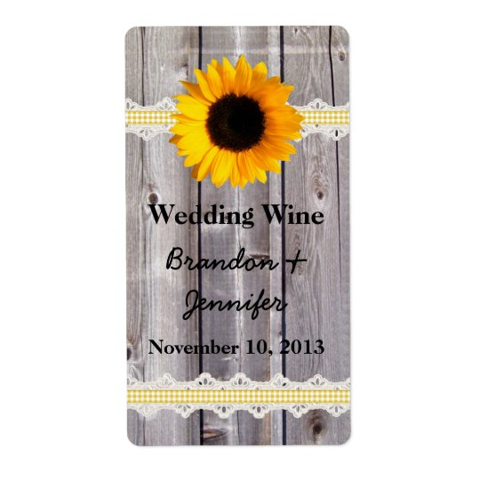 Rustic Wood & Sunflower Mini Wine Labels