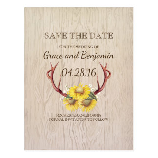 Rustic Wood Sunflowers and Antlers Save the Date Postcard
