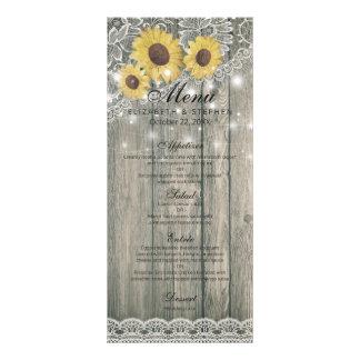 Rustic Wood Sunflowers Elegant Lace Wedding Menu