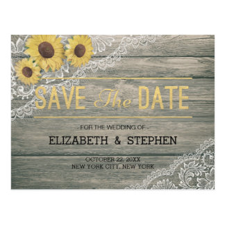 Rustic Wood Sunflowers Lace Wedding Save The Date Postcard