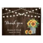 Rustic Wood Sunflowers Mason Jar Lights Thank You Card