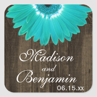 Rustic Wood Teal Daisy Wedding Favour Stickers