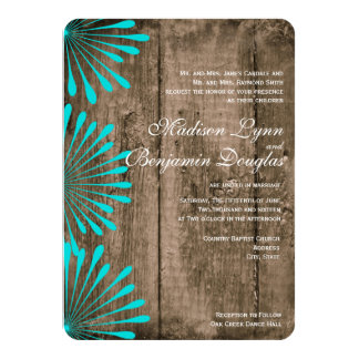 Rustic Wood Teal Flowers Wedding Invitations
