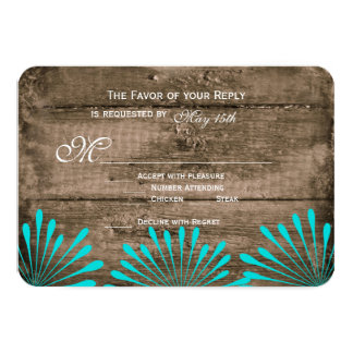 Rustic Wood Teal Flowers Wedding RSVP Cards