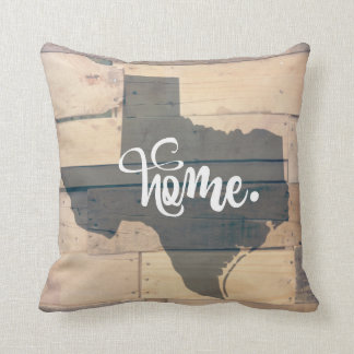 Rustic Wood Texas Home State Throw Pillow