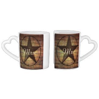 rustic wood texas star western wedding mr and mrs lovers mug sets
