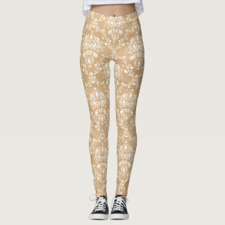 Rustic Wood Texture with White Damask Pattern Leggings