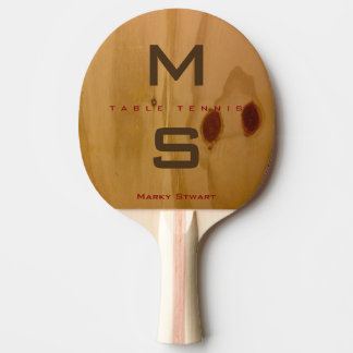 rustic wood texture / wooden grains with name ping pong paddle