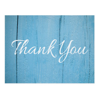 Rustic Wood Thank You Distressed Blue & White Postcard