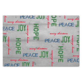 Rustic Wood Tissue Paper with Holiday Greetings