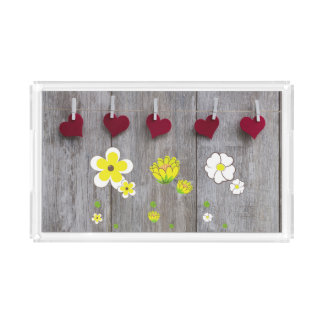 Rustic Wood Tray with Flowers