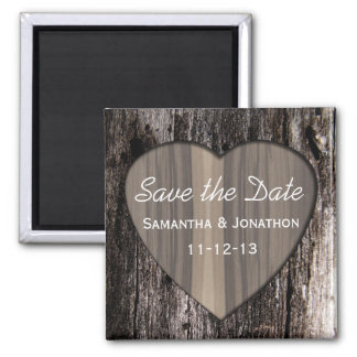 Rustic Wood Tree Bark Heart Wedding Save the Date Square Magnet