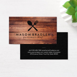 Rustic Wood Utensils Business Card