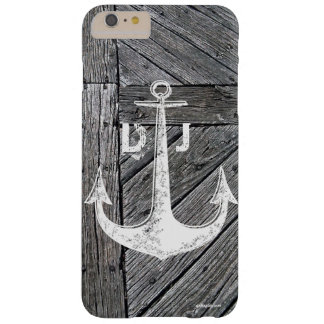 Rustic wood vintage anchor nautical monogram barely there iPhone 6 plus case