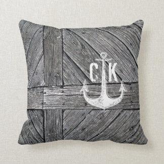 Rustic wood vintage anchor nautical monogram cushion