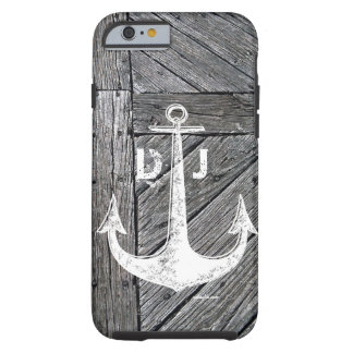 Rustic wood vintage anchor nautical monogram tough iPhone 6 case