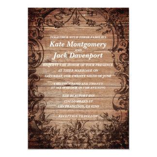 Rustic Wood Vintage Elegant Wedding Invitations