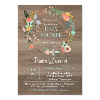 Rustic Wood, Vintage Floral Wreath Baby Shower Card