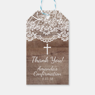 Rustic Wood Vintage Lace Confirmation Gift Tag