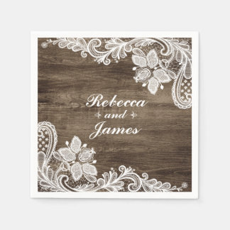 Rustic Wood & Vintage Lace Wedding Personalized Disposable Napkins