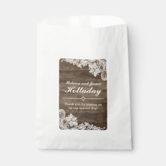 Rustic Wood & Vintage Lace Wedding Personalized Favour Bag
