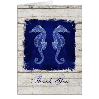 rustic wood vintage seahorse wedding thank you card