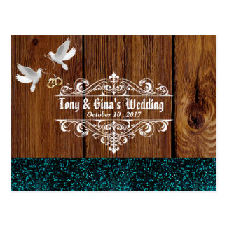 Rustic Wood W/ Doves and Glitter Wedding RSVP Postcard