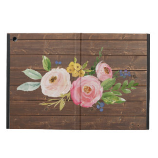 Rustic Wood & Watercolor Floral iPad Air Case