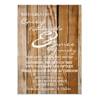 Rustic Wood Wedding Invitation