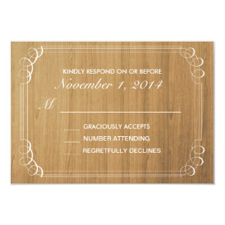 Rustic Wood Wedding Invitation Response Card