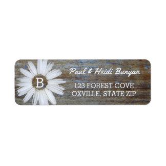 Rustic Wood Wedding Label | Daisy Flower Boho Return Address Label