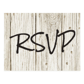 Rustic Wood Wedding RSVP Postcard