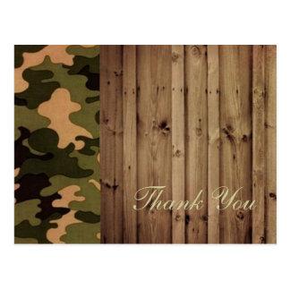 rustic wood western Camo Wedding thank you Postcard