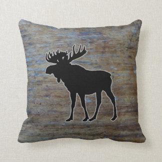 Rustic Wood Western   Moose Animal Cushion