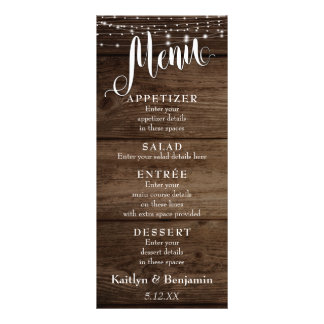 Rustic Wood, White Lights & Script Wedding Menu