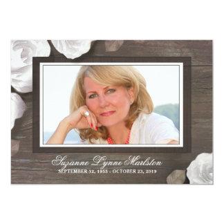 Rustic Wood White Roses Custom Sympathy Thank You Card