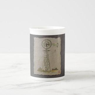Rustic Wood Windmill Tea Cup