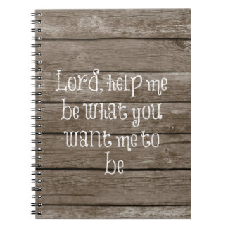 Rustic Wood with Christian Quote Spiral Notebook