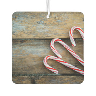 Rustic Wood with Christmas Candy Canes Car Air Freshener
