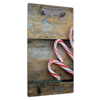 Rustic Wood with Christmas Candy Canes Clipboard
