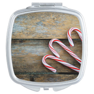 Rustic Wood with Christmas Candy Canes Compact Mirrors